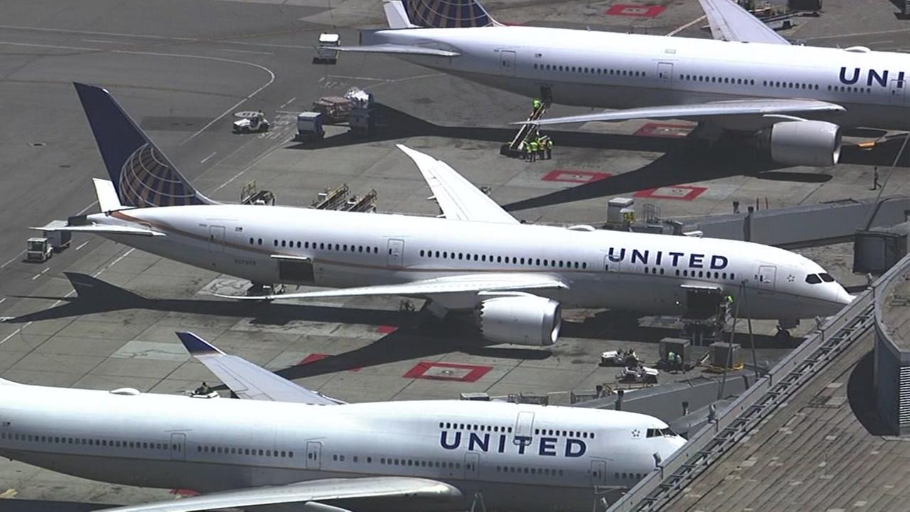 This is an undated image of United airplanes.