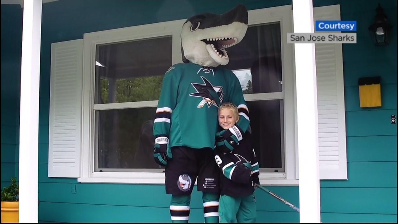 The San Jose Sharks mascot is seen with a fan in front of a house in Los Gatos, Calif., on Wednesday, April 12, 2017.
