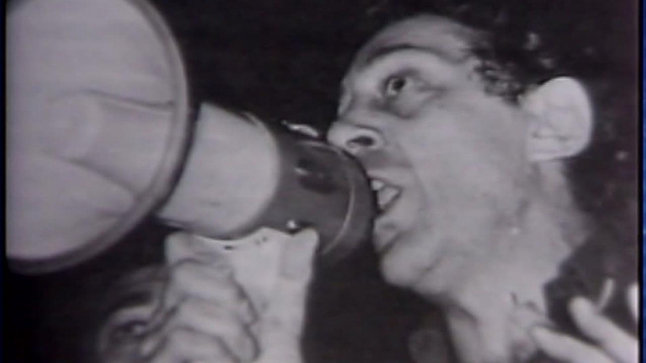This is an undated image of former San Francisco Supervisor Harvey Milk speaking into a megaphone.