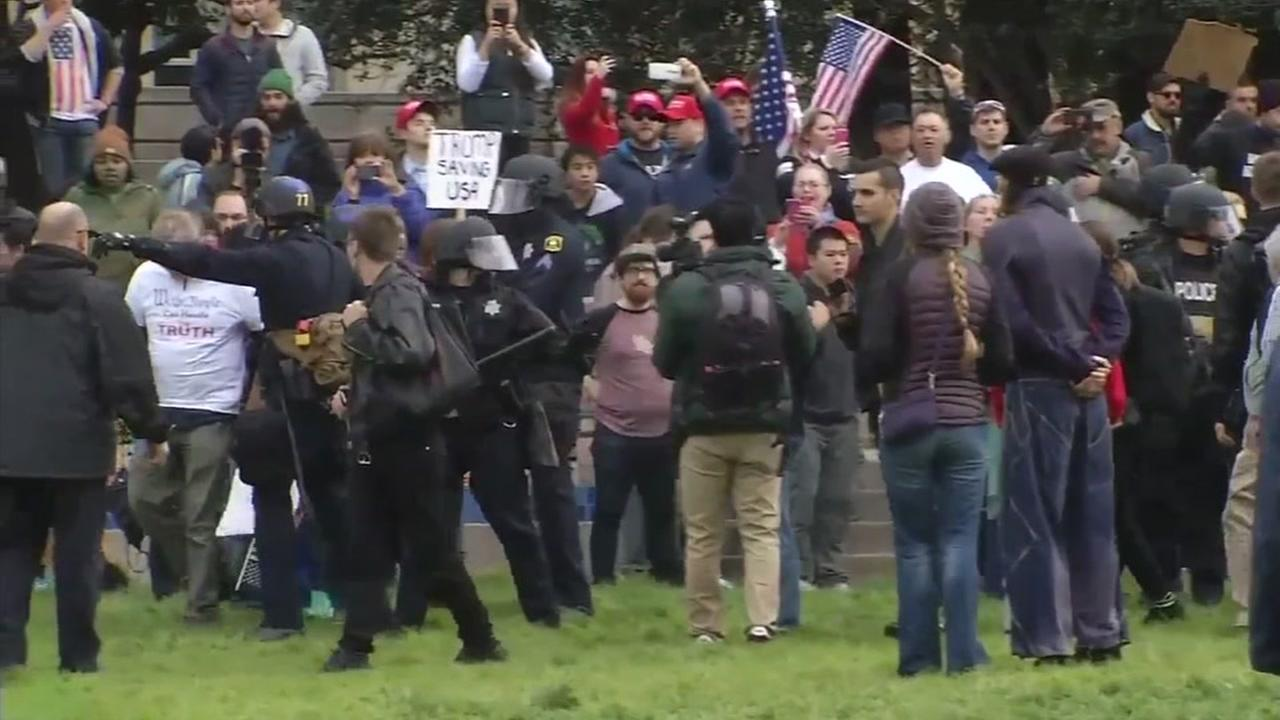 Trump protesters appear on March 4, 2017 in Berkeley, Calif.