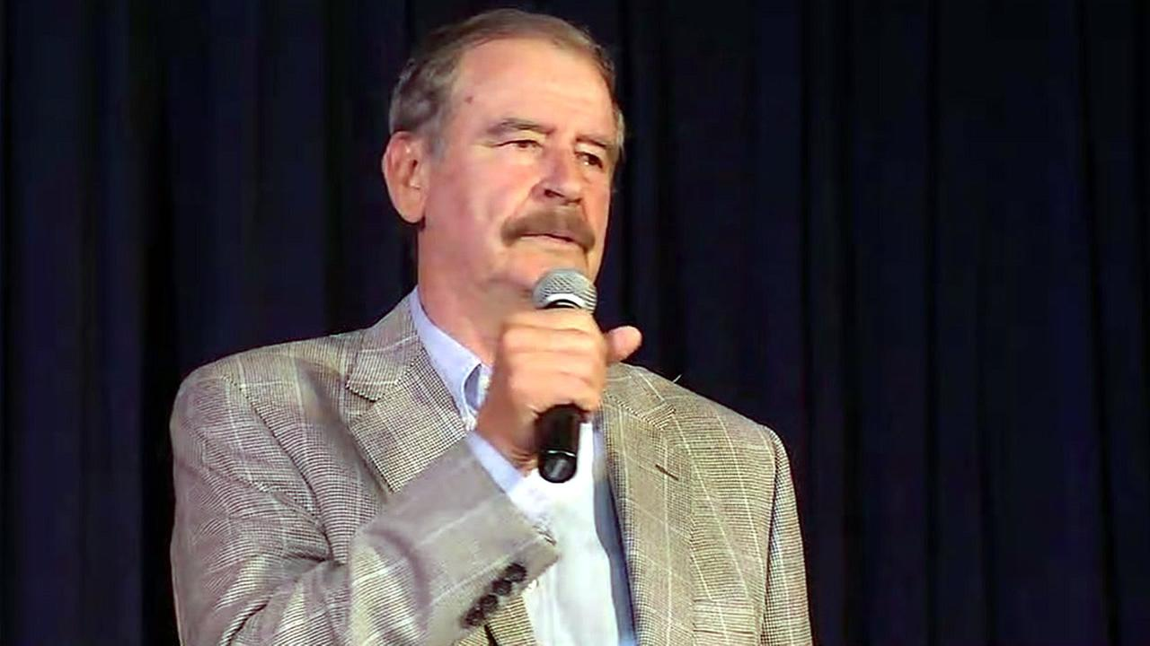 Former Mexican President Vicente Fox is seen speaking at a high school in Palo Alto, Calif. on Monday, April 17, 2017.