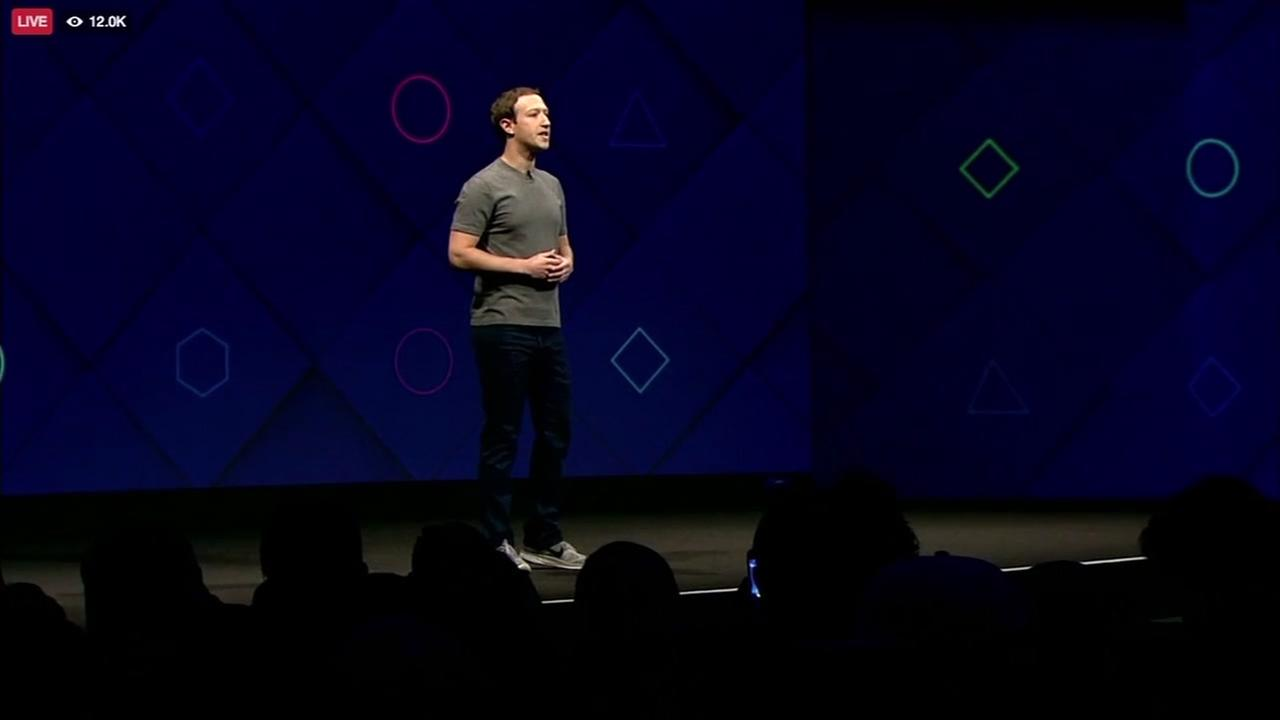 Facebook CEO Mark Zuckerberg is seen speaking at the F8 Developers Conference in San Jose on Tuesday, April 18, 2017.
