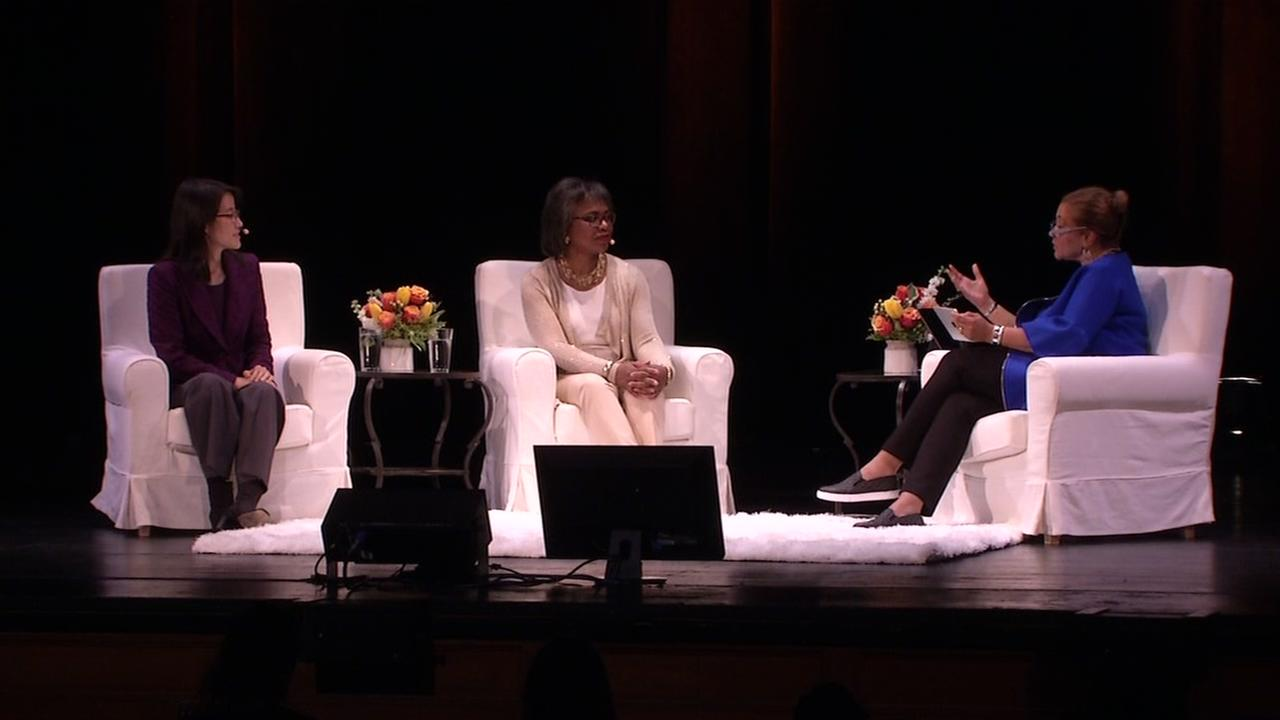 Anita Hill and Ellen Pao appear at a lecture in San Francisco on Thursday, April 20, 2017.