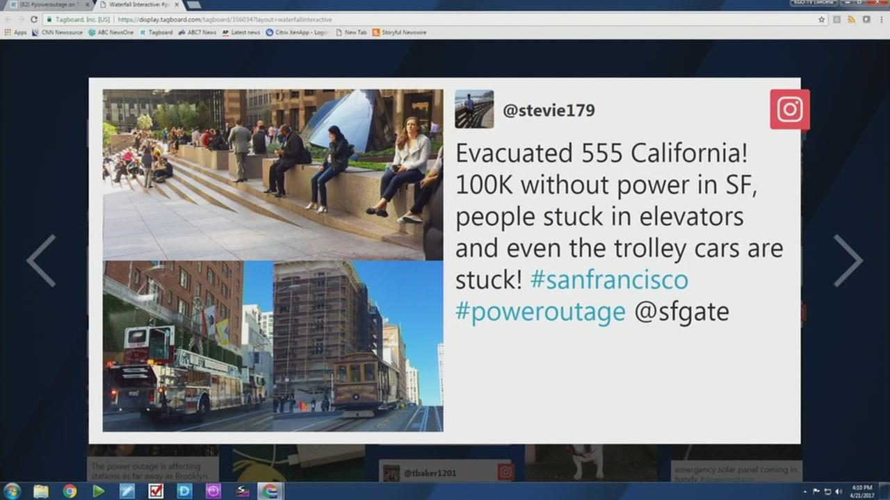 This graphic shows a tweet sent out regarding a power outage in San Francisco on April 21, 2017.