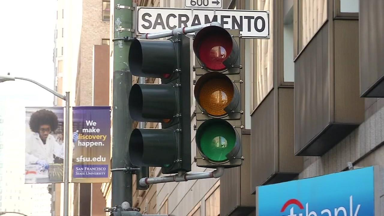 A non-working stoplight appears in San Francisco during a power outage on April 21, 2017.