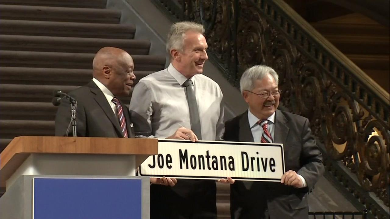 Former Speaker of the California State Assembly Willie Brown, Former 49ers quarterback Joe Montana, and San Francisco Mayor Ed Lee are seen in San Francisco on Sunday, April 23, 20