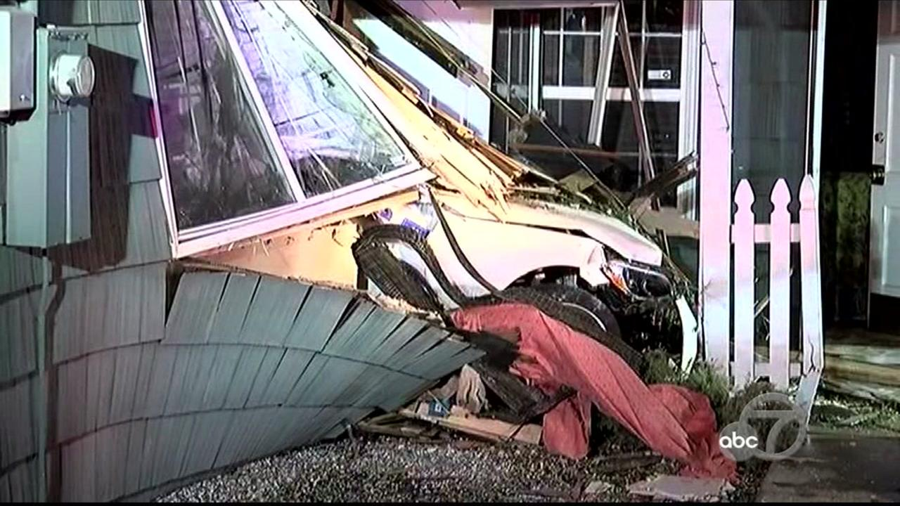 Car slams into home in Walnut Creek, California, Sunday, April 23, 2017.