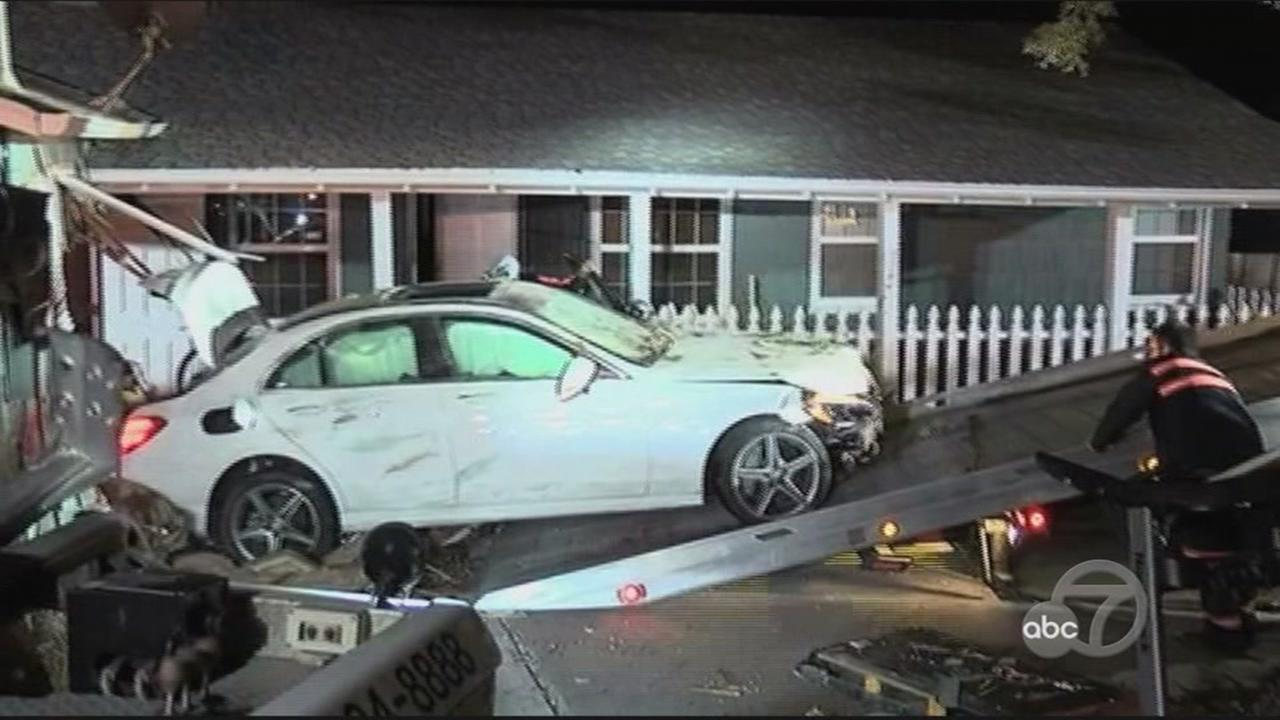Car slams into house in Walnut Creek, California, Monday, April 24, 2017.