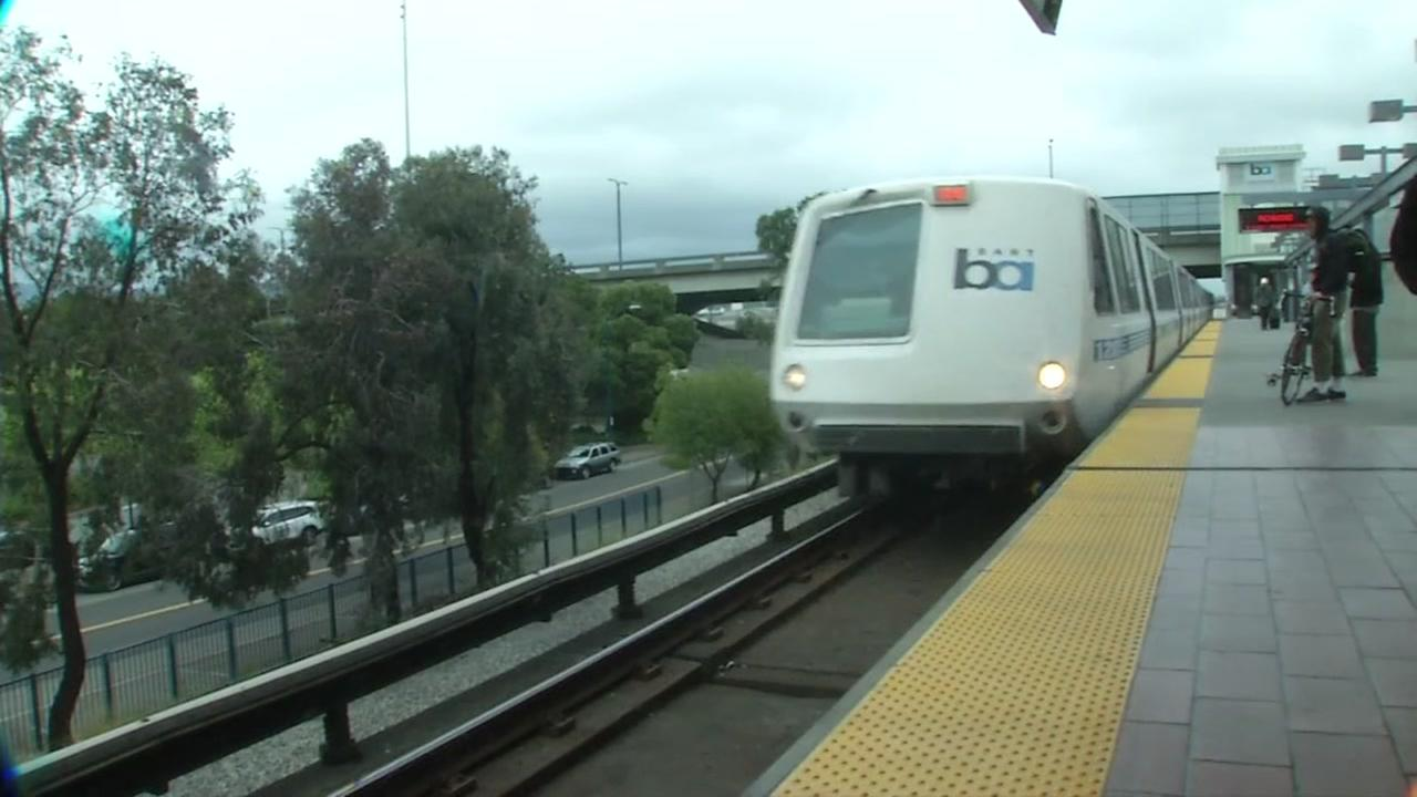 A BART train pulls into Oakland Coliseum Station in Oakland, Calif. on Monday, April 24, 2017.