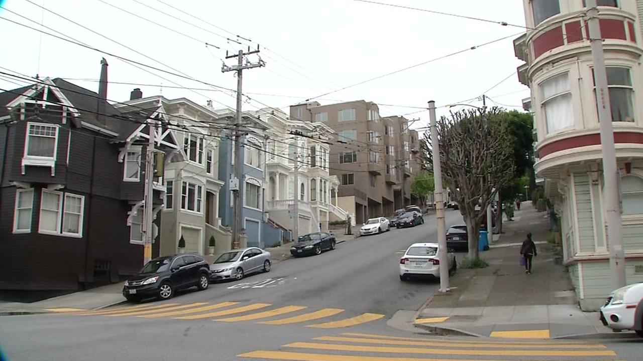 A hill where an attempted abduction occurred in the Pacific Heights neighborhood appears on Monday, April 24, 2017.