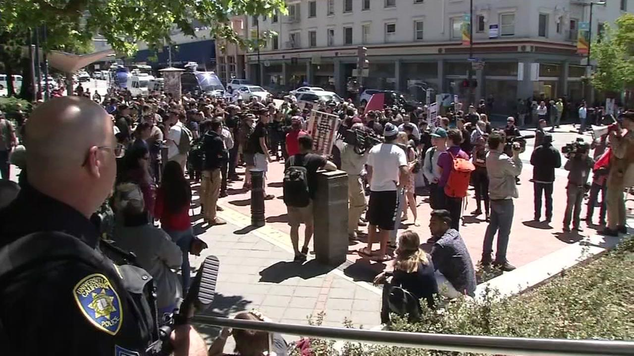 Police and protesters are seen on the UC Berkeley campus on Thursday, April 27, 2017.