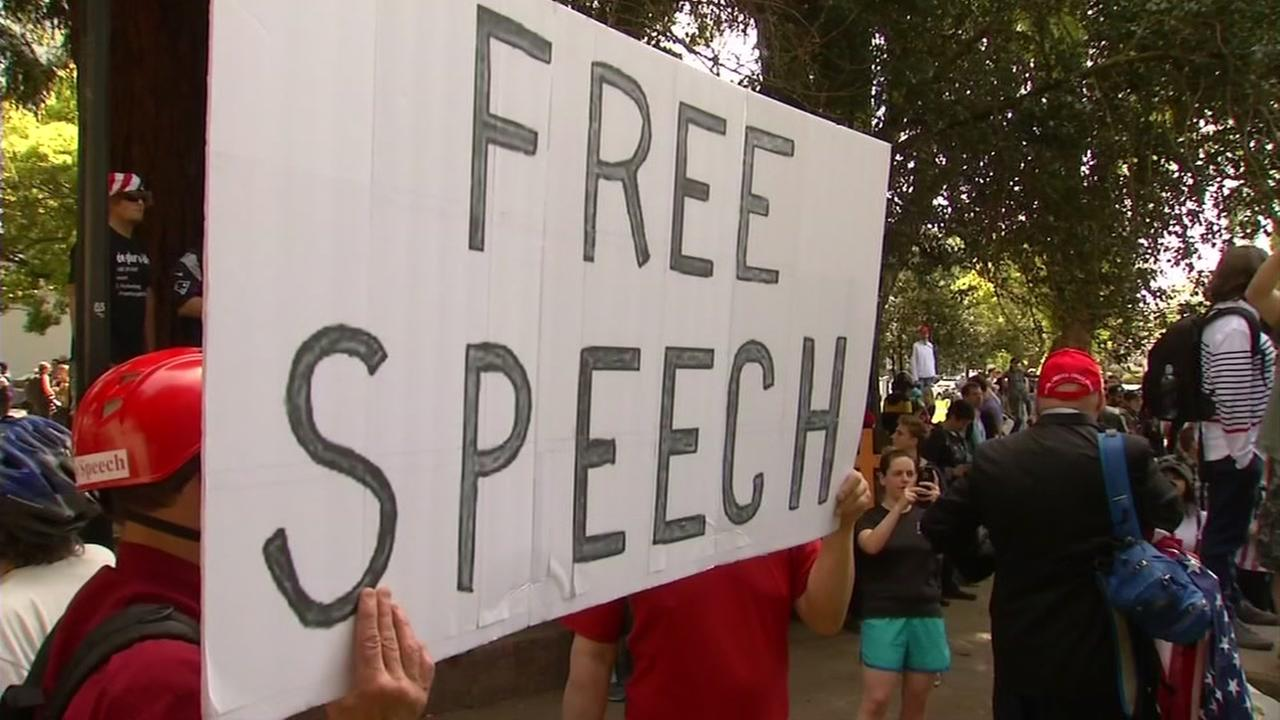 A demonstrator is seen in Berkeley, Calif. on Thursday, April 27, 2017 in a protest over Ann Coulter and free speech.