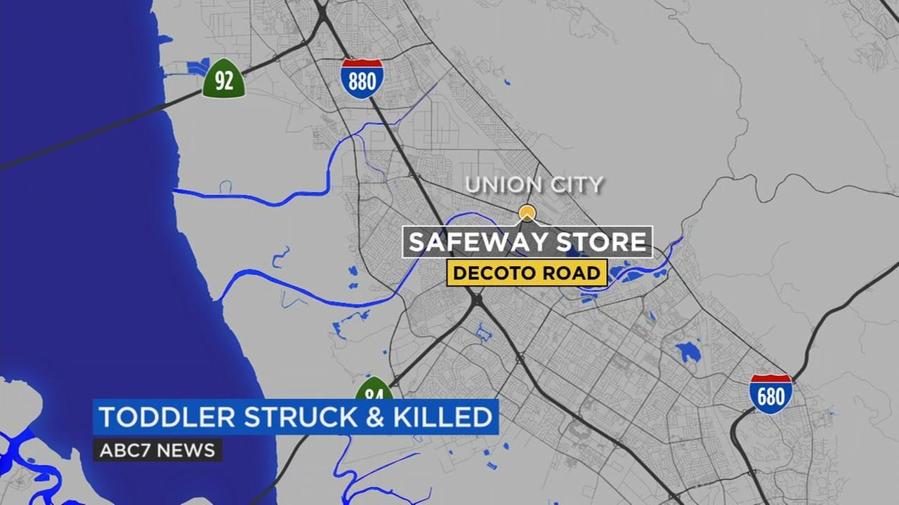 A map shows a location in Union City, Calif. where at 23-month-old boy was fatally struck by a car on Saturday, April 29, 2017.