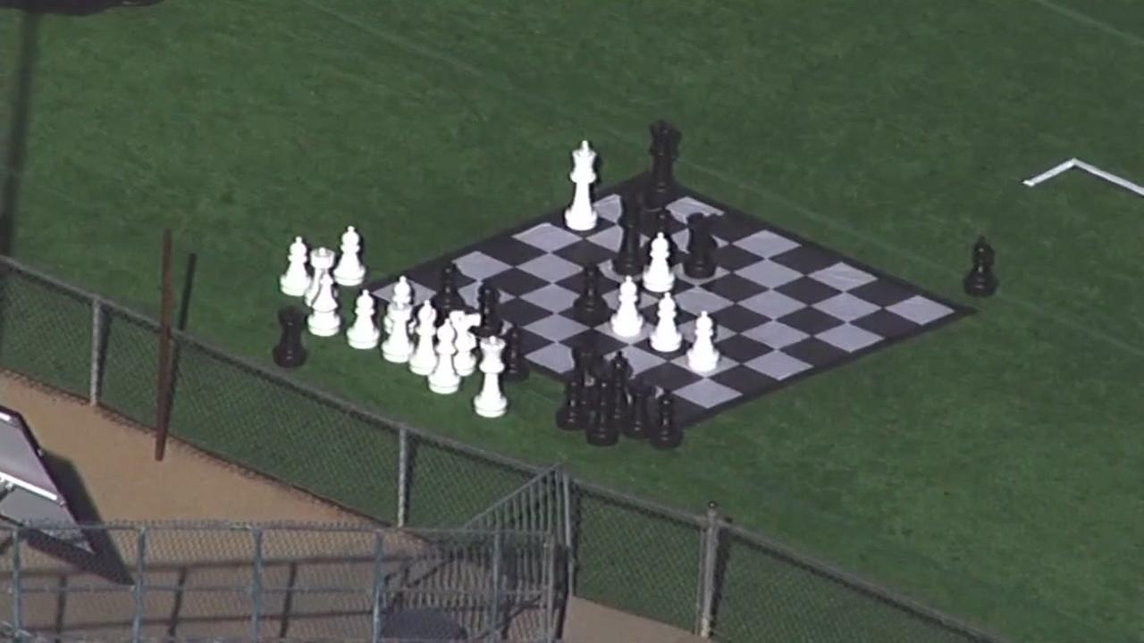 A giant chess board appears at a park in Palo Alto, Calif. on Wednesday, May 4, 2017.