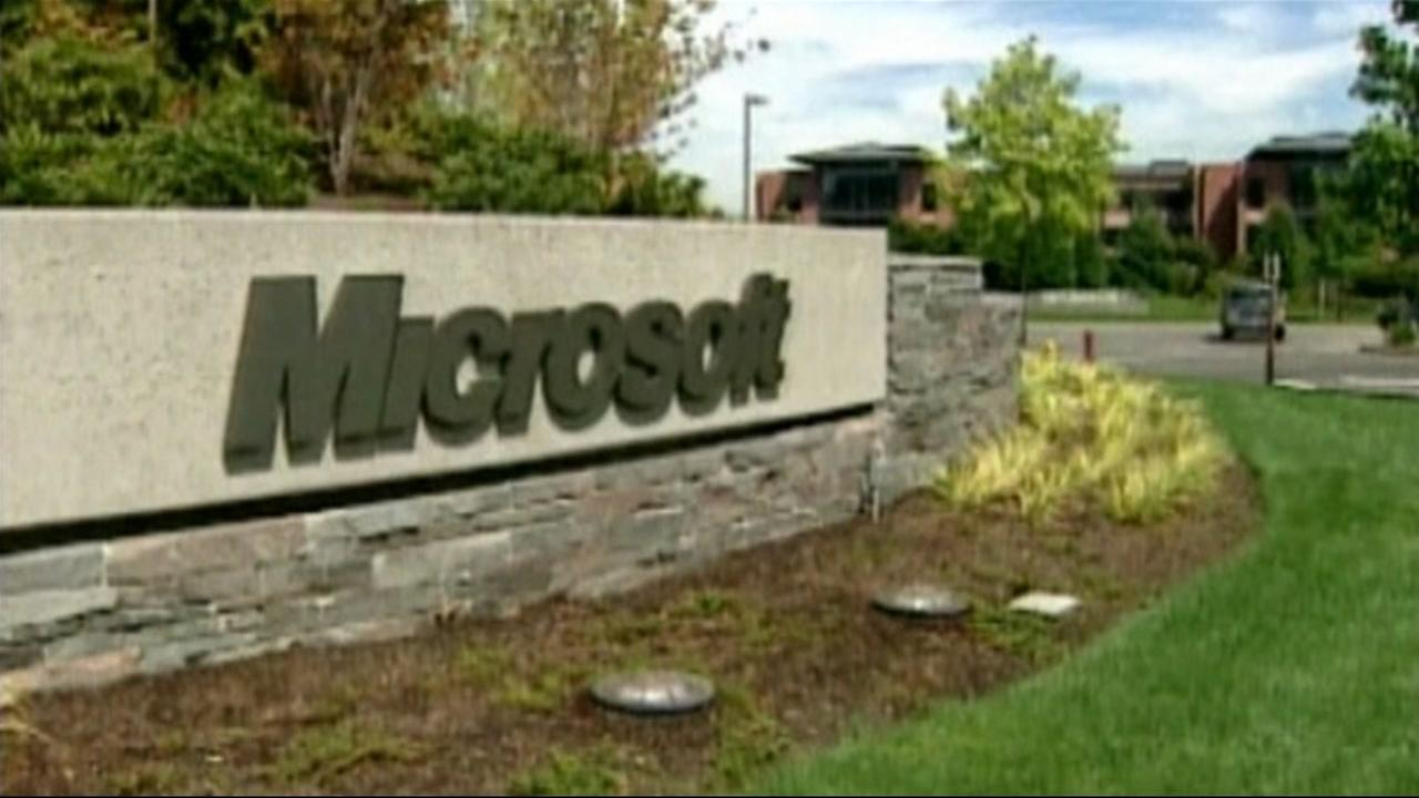 This is an undated image of the Microsoft corporate headquarters sign.