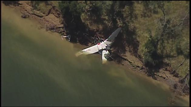A single-engine Icon A5 plane crash is seen near Lake Berryessa in Napa County on Monday, May 8, 2017.