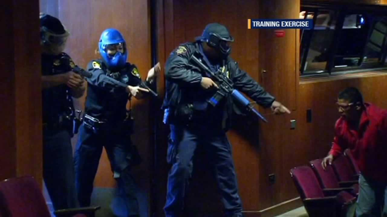 Police and firefighters held an active shooter training session at Canada College in Redwood City.
