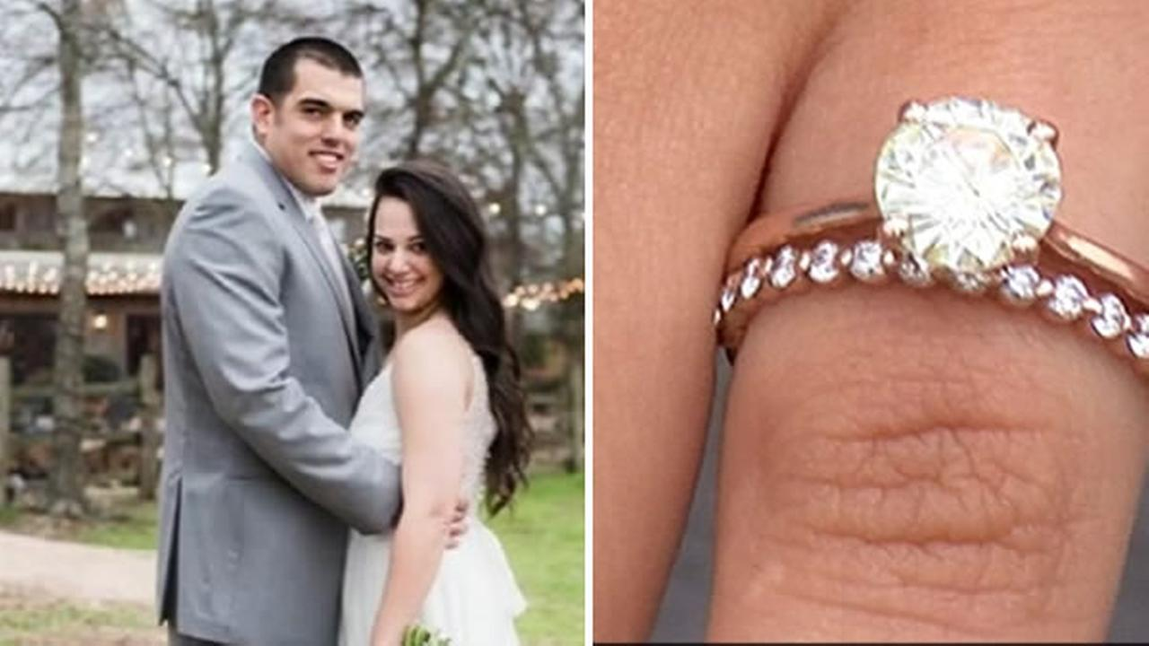 A newlywed couple was reunited with their lost wedding ring after a tornado ripped through their home in Canton, Texas.
