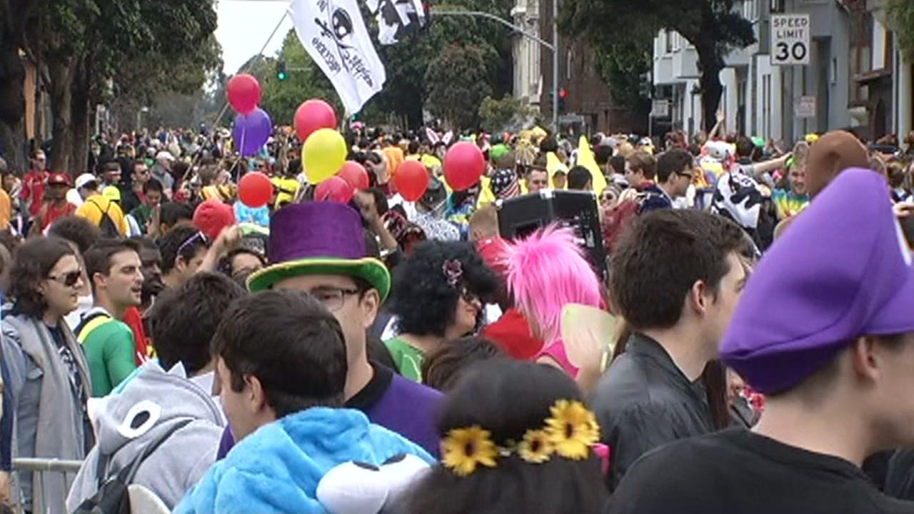 Participants in the Bay to Breakers foot race are seen in San Francisco in this undated image.