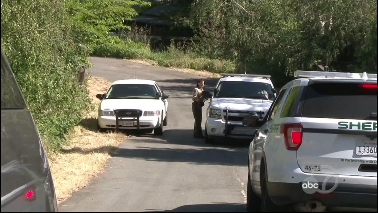 Marin County Sheriffs deputies are seen investigating after two people were found dead in a Novato home.