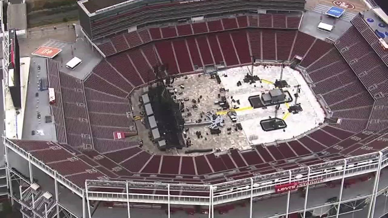 Preparations are underway at Levis Stadium for a U2 concert on Wednesday, May 17, 2017 in Santa Clara, Calif.