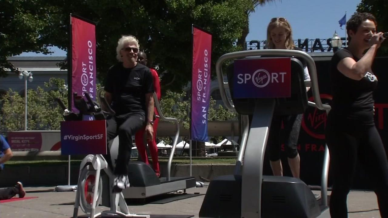 Richard Branson works out during a promotional event for his new Virgin Sport venture in San Francisco on Thursday, May 18, 2017.