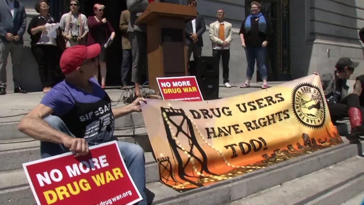 Safe drug use advocates rally on the steps of San Francisco City Hall on Monday, May 22, 2017.