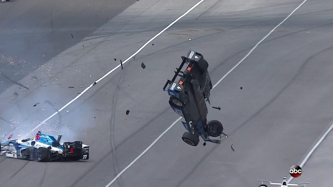 A frightening crash is seen during the Indianapolis 500 on Sunday, May 28, 2017.