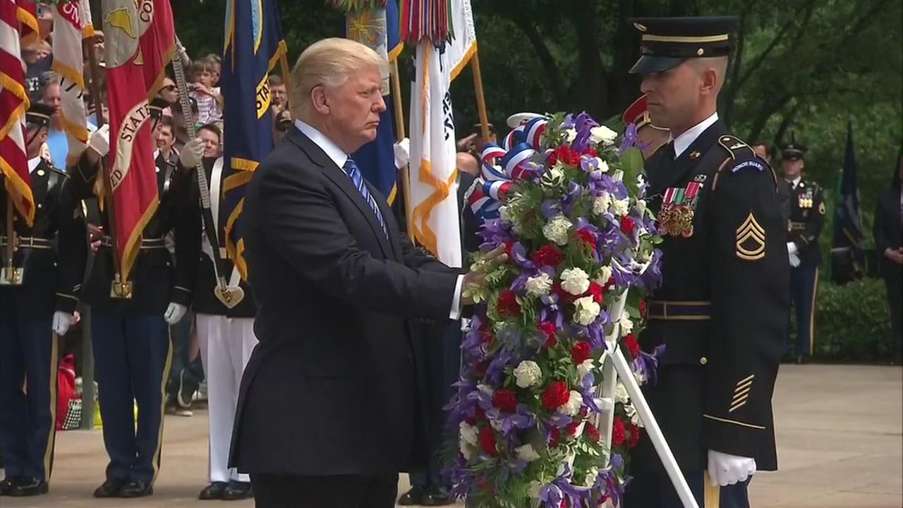 RAW VIDEO: Trump lays wreath at the Tomb of the Unknown Soldier