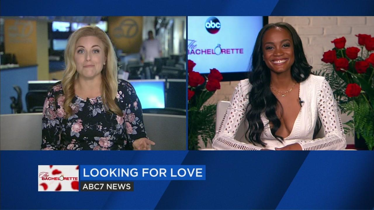 The Bachelorette Rachel Lindsay is seen speaking to ABC7 News Alexis Smith in this undated image.