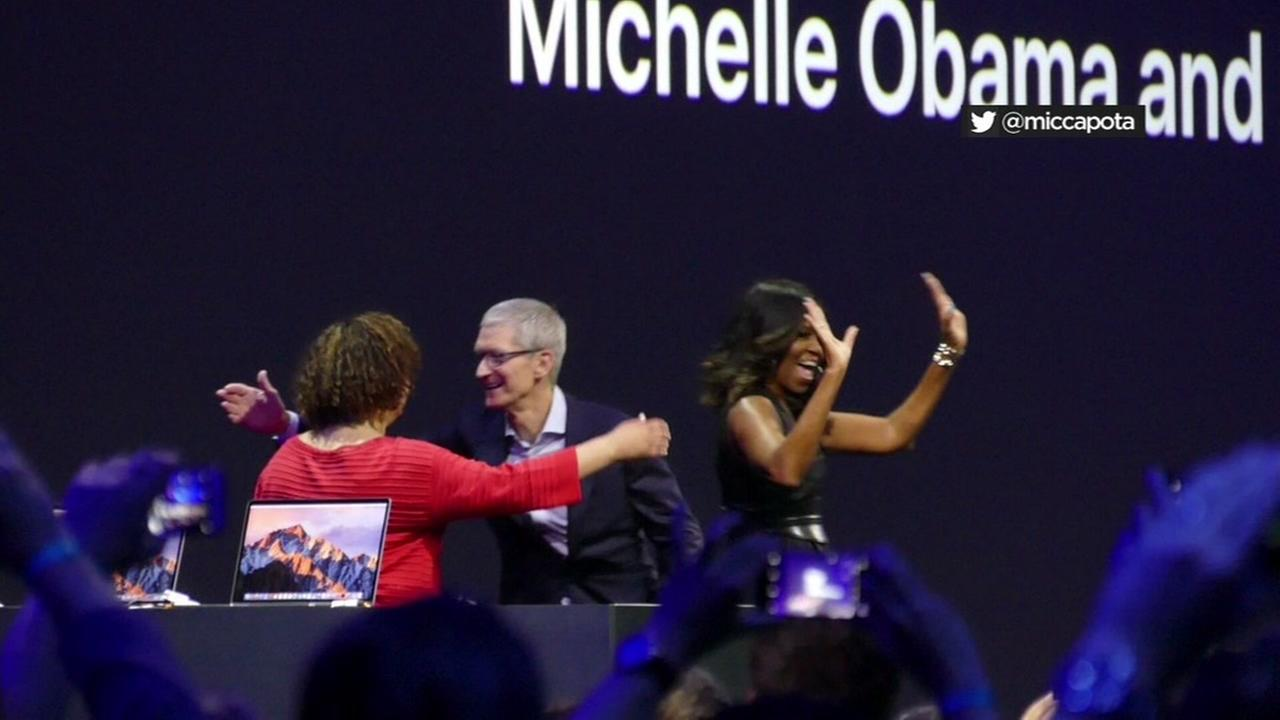 Former First Lady Michelle Obama is seen at the Apple Worldwide Developers Conference in San Jose, Calif. on Tuesday, June 6, 2017.