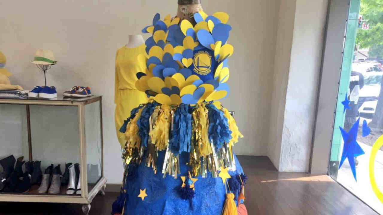 A Warriors themed dress is seen in this undated image in a shop in Oakland, California.