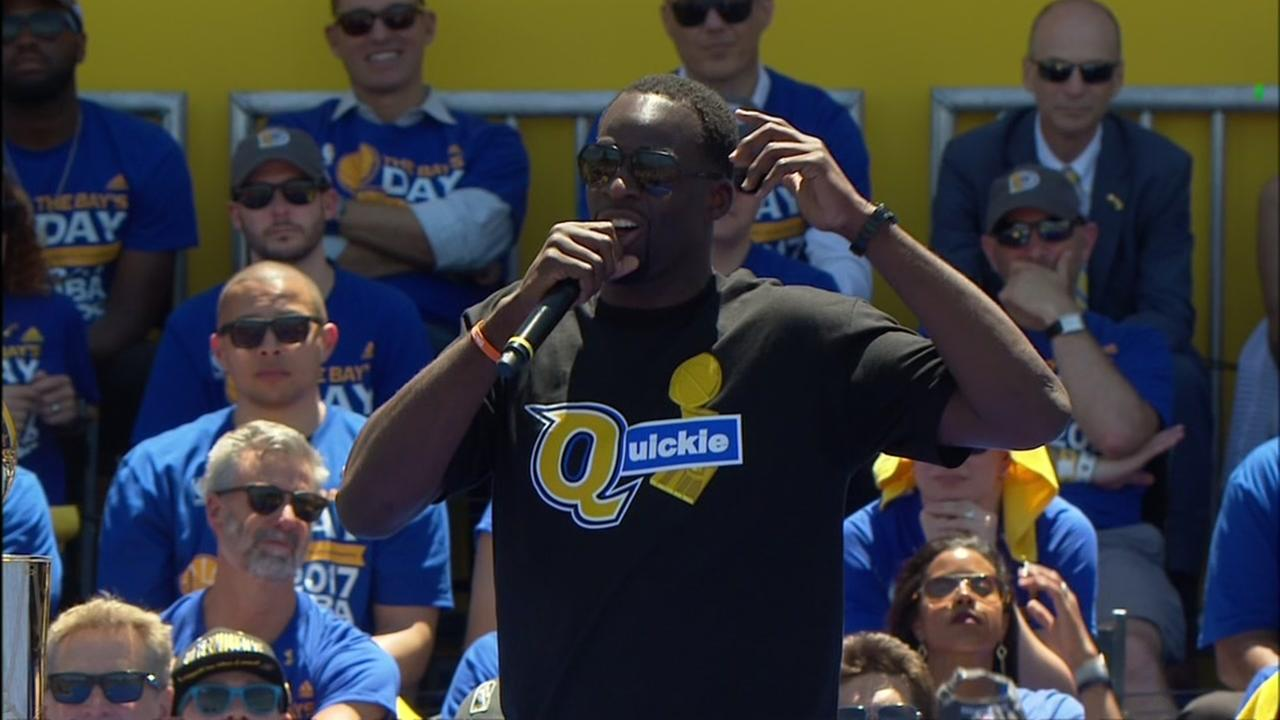 Warriors Draymond Green celebrates at their NBA championship rally in Oakland, Calif. Thursday, June 15, 2017.