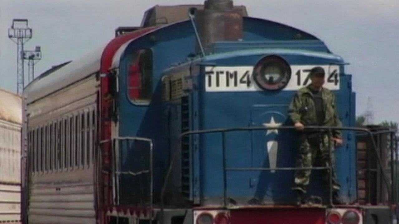 train carrying some of the bodies from the downed Malaysian plane in Ukraine