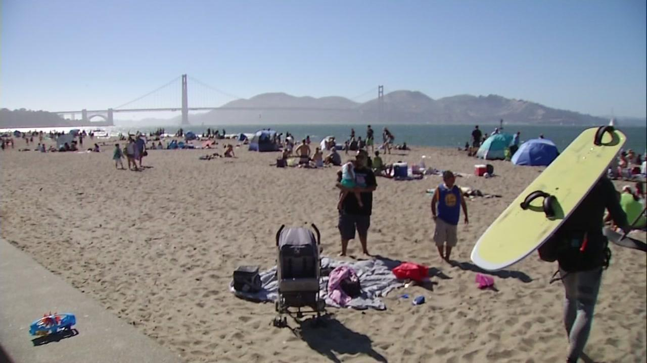 Beachgoers are seen at Crissy Field in San Francisco on Sunday, June 18, 2017.
