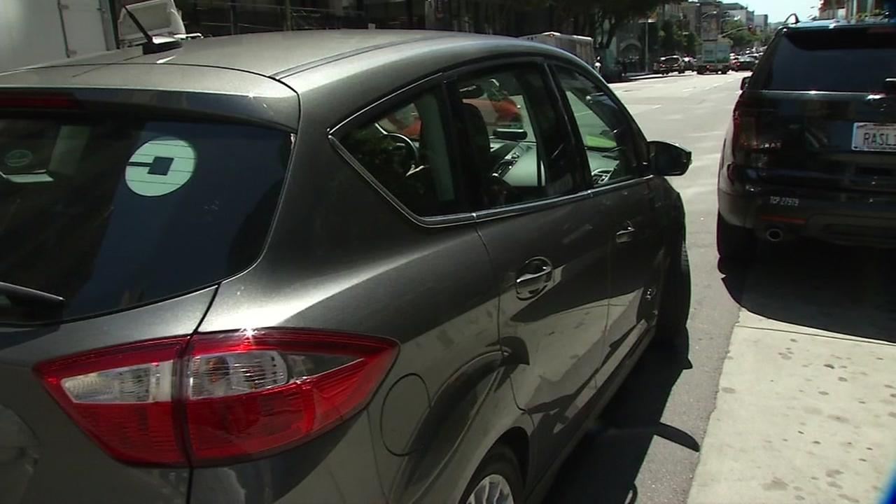 A rideshare vehicle is seen in San Francisco in this undated image.