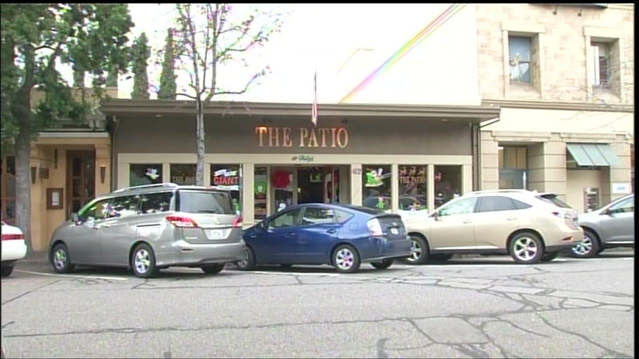 Cars are seen parked in front of a store in Palo Alto, Calif. in this undated image.