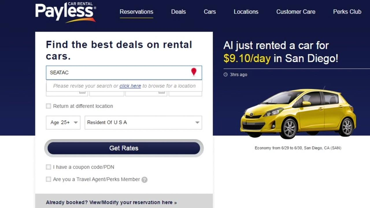 This is an undated image of the Payless car rental website.