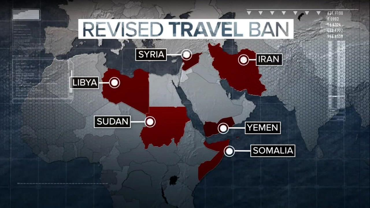 A graphic shows countrys affected by President Trumps travel ban in this undated image.