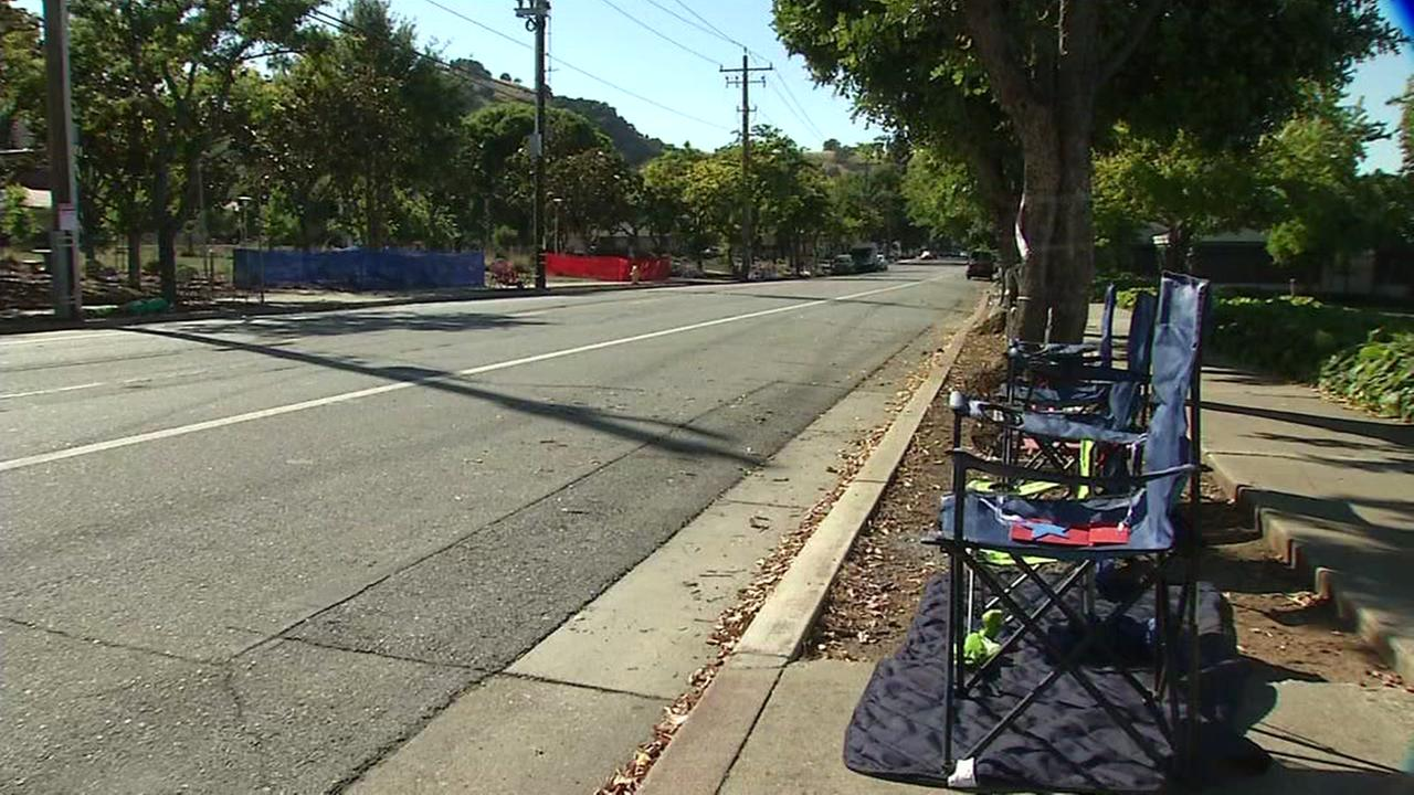Chairs are seen along a parade route in Morgan Hill, Calif. on Sunday, July 2, 2017.