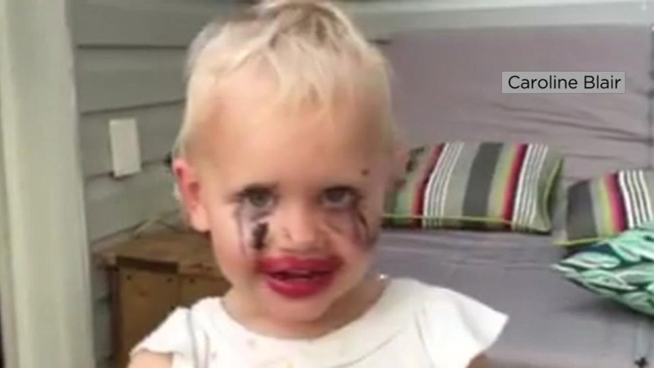 This undated photo shows a little girl who tried on her moms makeup in Canada.