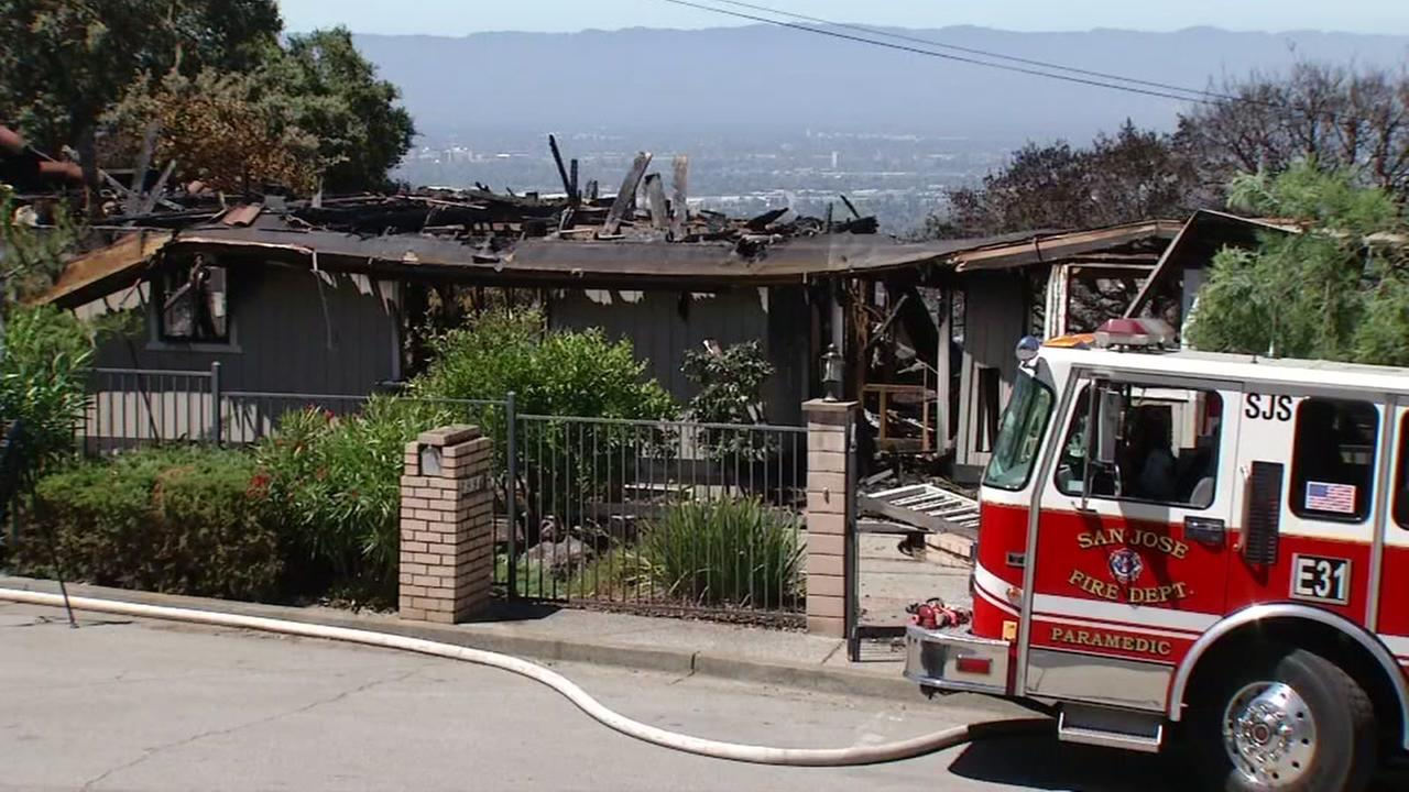 A home destroyed in a San Jose grass fire appears on Wednesday, July 12, 2017.