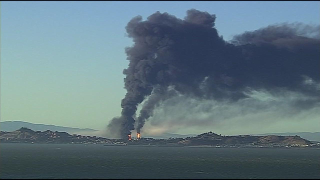 Smoke from a Chevron Refinery fire is seen in Richmond, Calif. in August, 2012.