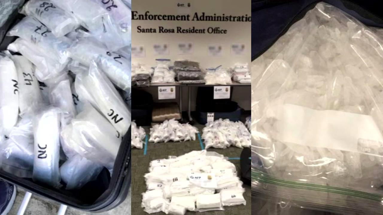 At least 560 pounds of methamphetamine are seen in this image after officials found it in a storage facility in Santa Rosa, Calif.