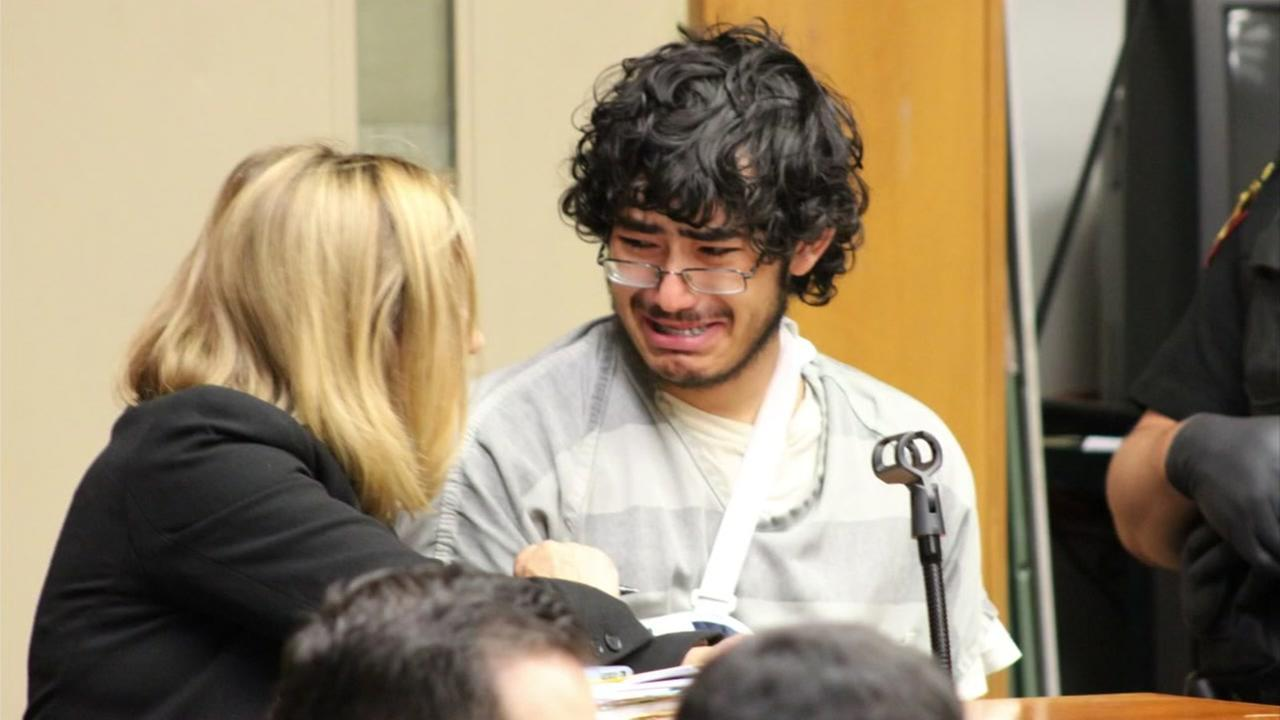 Daniel Mitchell is seen sobbing in a Fairfield, Calif. courtroom on Wednesday, July 26, 2017.