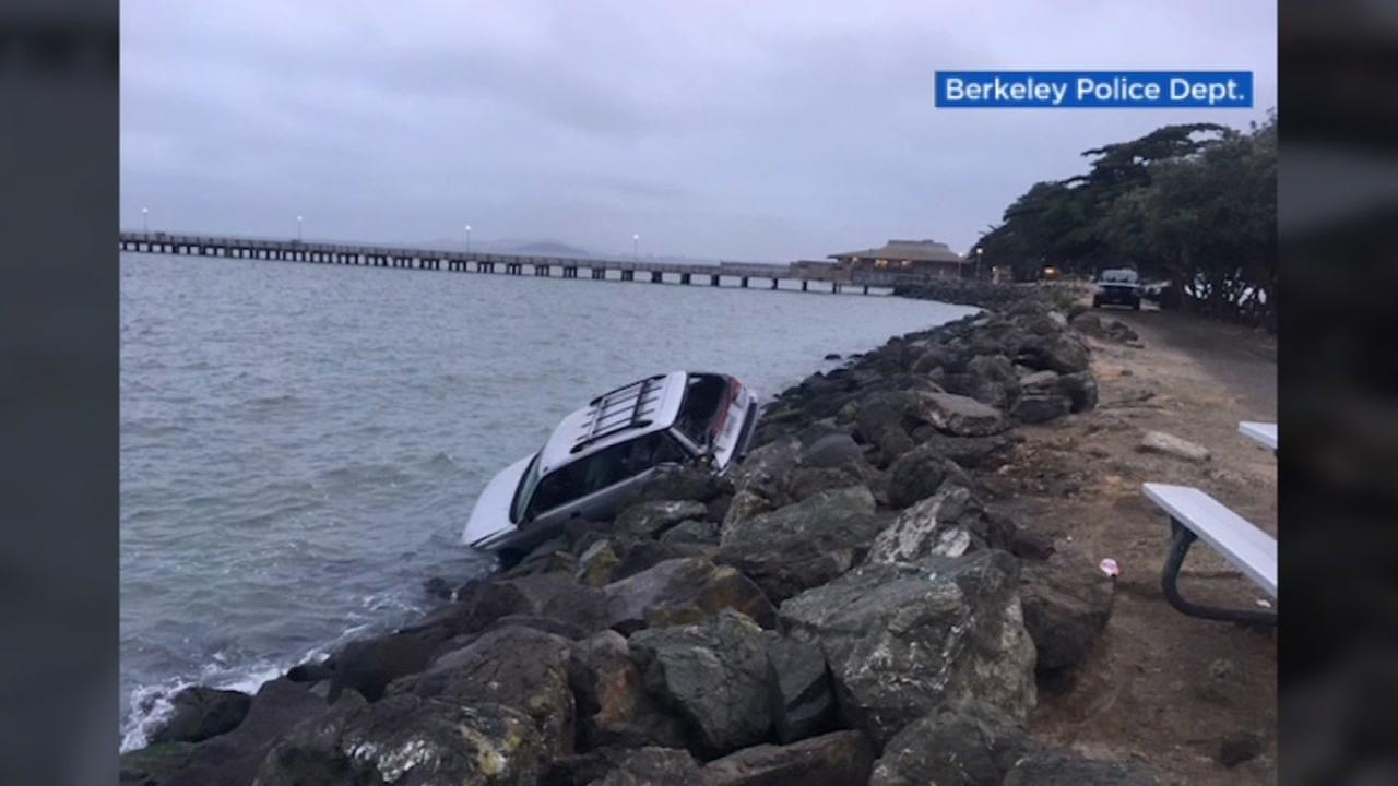 A car is seen after crashing into San Francisco Bay on Saturday, July 29, 2017.