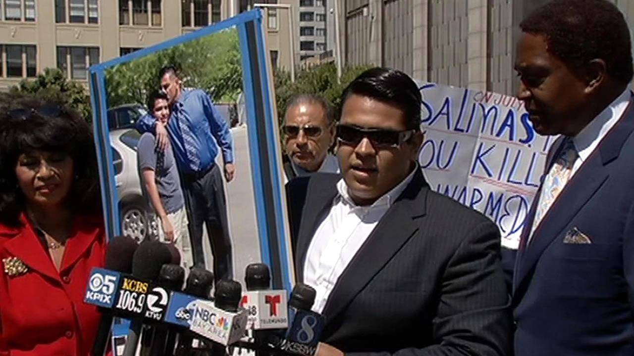 Anthony Alvarado, whose father was killed by police, speaks at a press conference