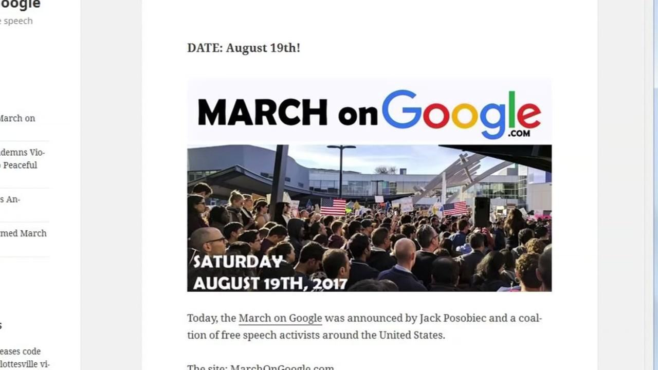 An undated screenshot shows when the Google march will be taking place.
