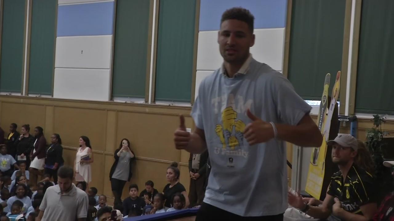 Klay Thompson unveils new basketball court at Oaklands Kipp Bridge Academy