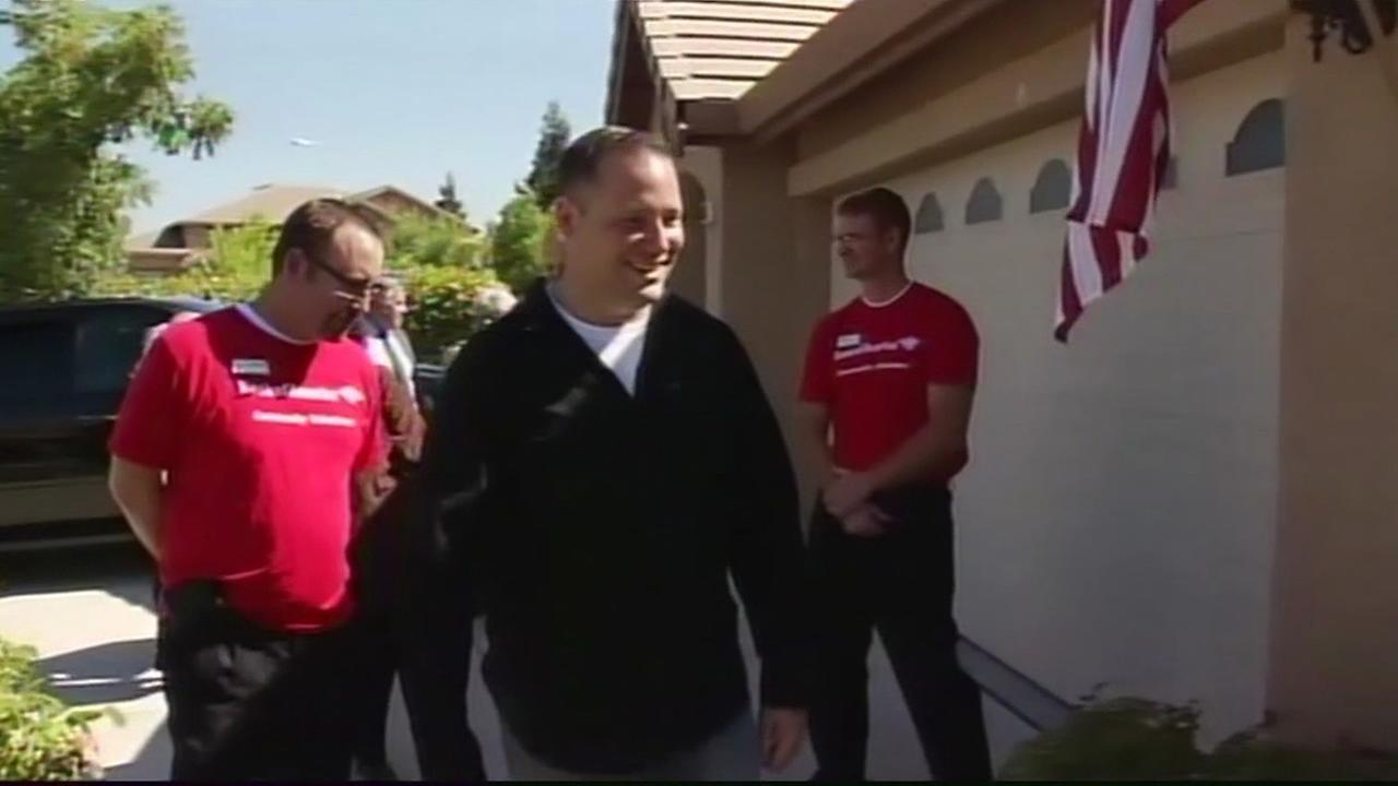 Iraq War hero Brandon Del Fiorentino moving into his mortgage-free home in 2012.